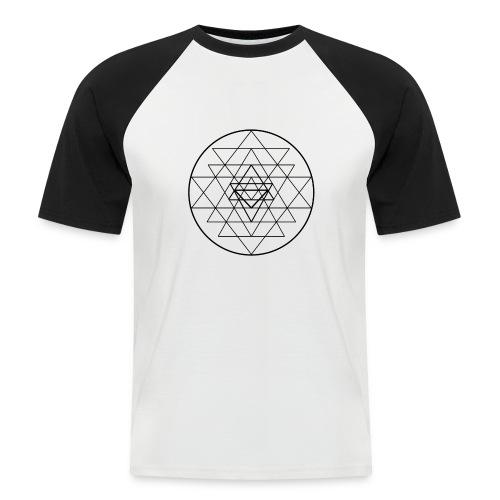 Sri Yantra - black and white - Kortærmet herre-baseballshirt