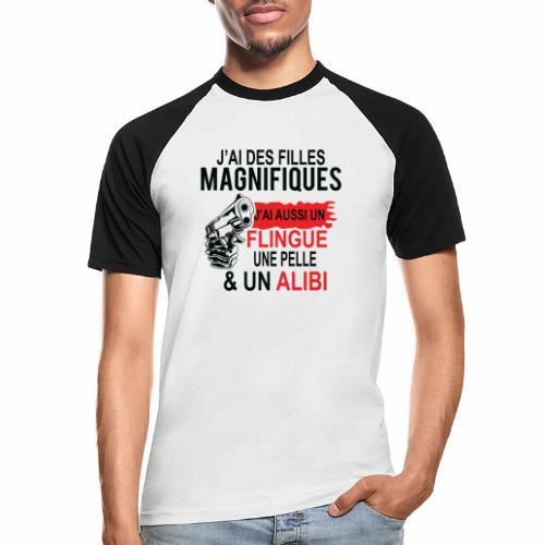 J'AI DEUX FILLES MAGNIFIQUES Best t-shirts 25% - T-shirt baseball manches courtes Homme