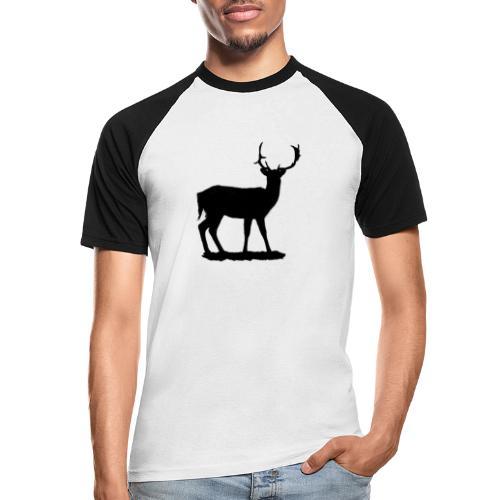 Silueta ciervo en negro - Camiseta béisbol manga corta hombre