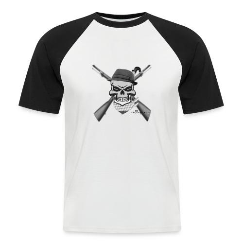 Totenkopf mit Hutund Gewehr2 - Männer Baseball-T-Shirt