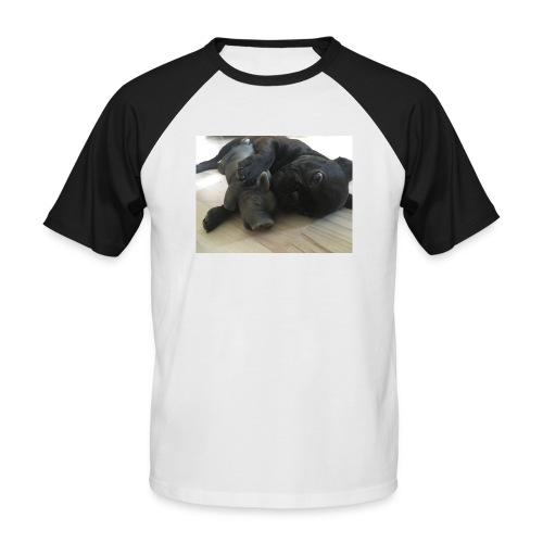 kuschelnder Hund - Männer Baseball-T-Shirt