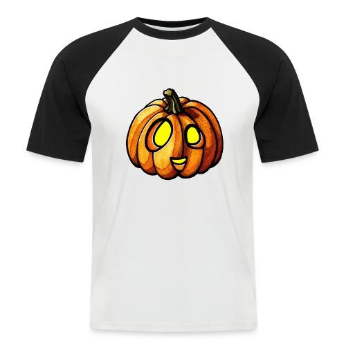 Pumpkin Halloween watercolor scribblesirii - Kortærmet herre-baseballshirt