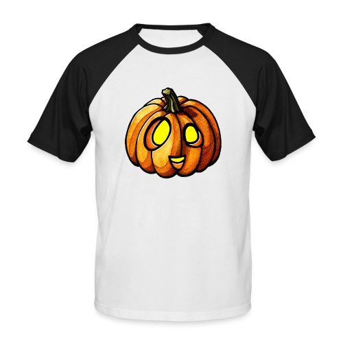 Pumpkin Halloween watercolor scribblesirii - Männer Baseball-T-Shirt