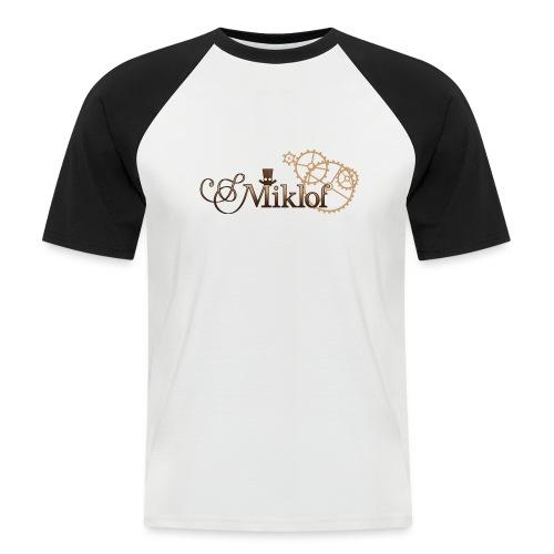 miklof logo gold wood gradient 3000px - Men's Baseball T-Shirt
