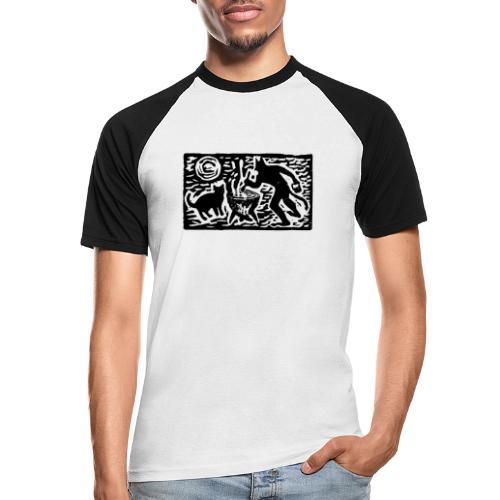 Teufel mit Katze - Männer Baseball-T-Shirt