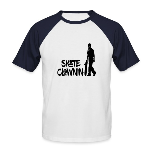 Skateclowninallblackno bg gif - Men's Baseball T-Shirt