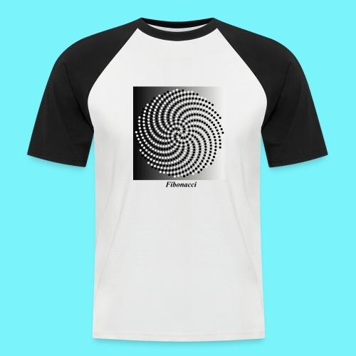 Fibonacci spiral pattern in black and white - Men's Baseball T-Shirt