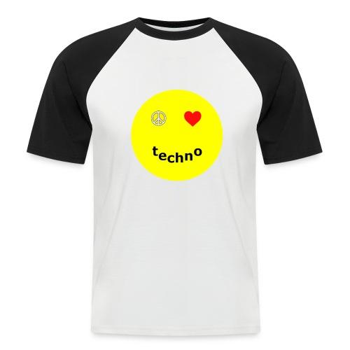 camiseta paz amor techno - Camiseta béisbol manga corta hombre