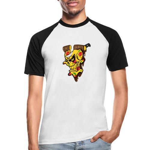Pizza Schädel mit Messer - Männer Baseball-T-Shirt