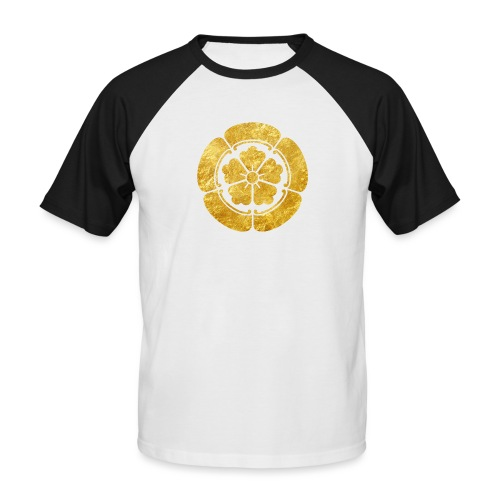 Oda Mon Japanese samurai clan faux gold on black - Men's Baseball T-Shirt
