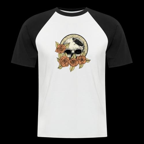 Rose et tête de mort - T-shirt baseball manches courtes Homme