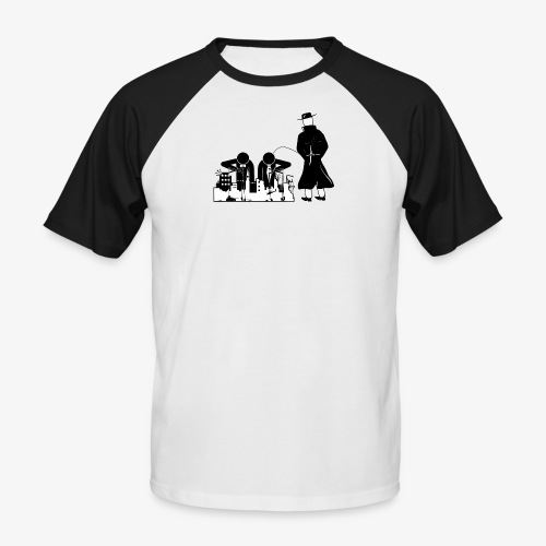 Pissing Man against war - Männer Baseball-T-Shirt