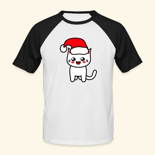 Kawaii Kitteh Christmashat - Männer Baseball-T-Shirt
