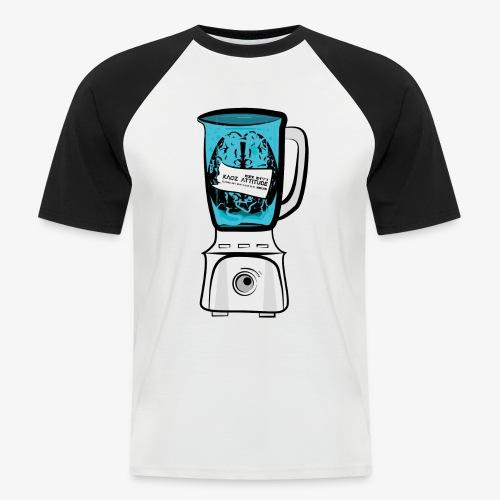 Hirn im Mixer - neon blau - Männer Baseball-T-Shirt