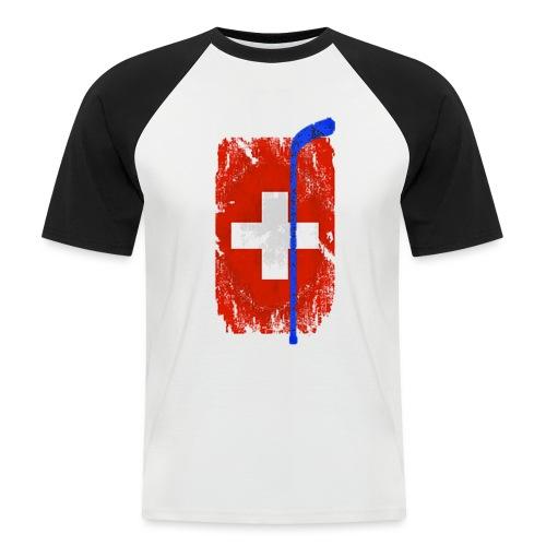 Schweizer Flagge Hockey - Männer Baseball-T-Shirt