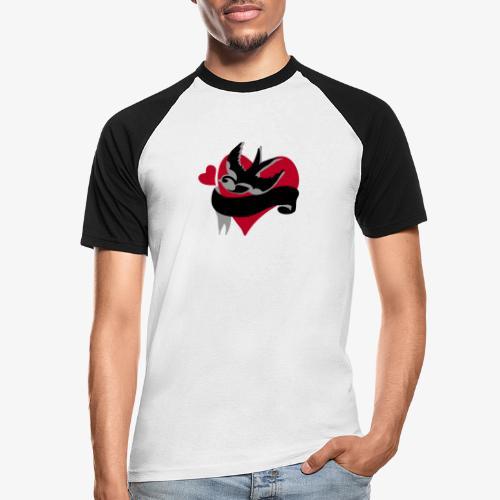 retro tattoo bird with heart - Men's Baseball T-Shirt