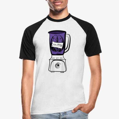 Hirn im Mixer_ lila - Männer Baseball-T-Shirt