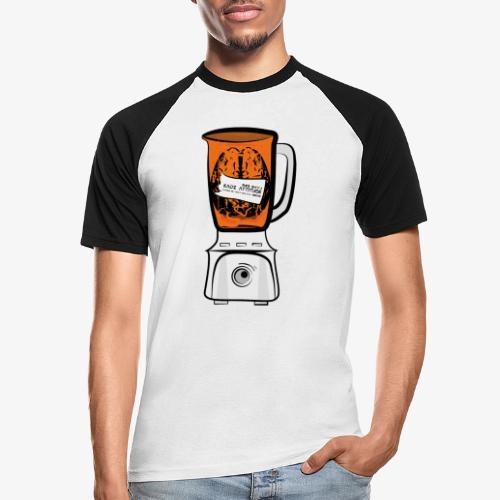 Hirn in Mixer neon orange - Männer Baseball-T-Shirt