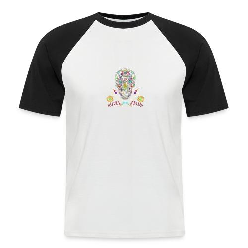 Bunter Totenkopf - Männer Baseball-T-Shirt