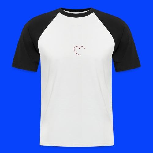 t-shirt bianca con cuore - Maglia da baseball a manica corta da uomo