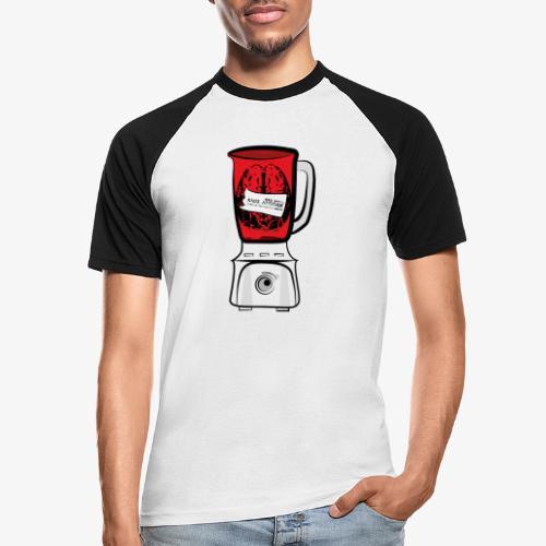 Hirn im Mixer - neon rot - Männer Baseball-T-Shirt