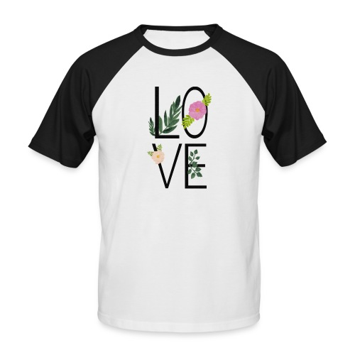 Love Sign with flowers - Men's Baseball T-Shirt