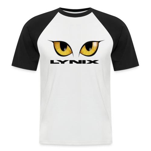lynix new eyes text smaller png - Men's Baseball T-Shirt