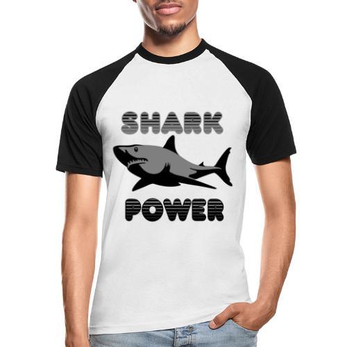 Shark Power Schwarz - Männer Baseball-T-Shirt
