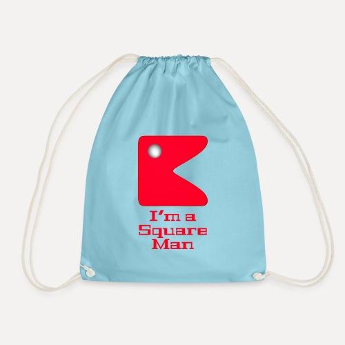 Square man red - Drawstring Bag