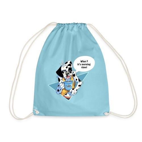 Dalmatian with his morning coffee - Drawstring Bag