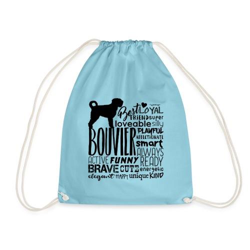 Bouvier Words Black - Drawstring Bag