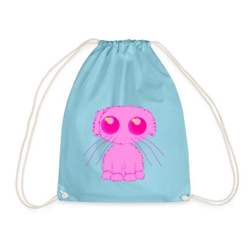 lurvig neonrosa kawaii anime doodle hund - Drawstring Bag