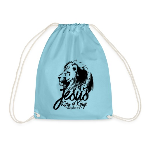 LION - JESUS KING OF KINGS // Black - Drawstring Bag