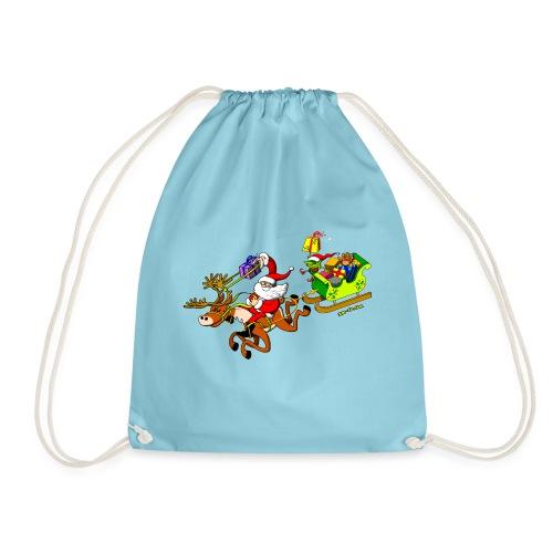 Santa's Gift Delivery with a Slingshot - Drawstring Bag