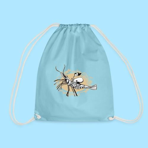 Bobtail squid riding a shrimp - Drawstring Bag
