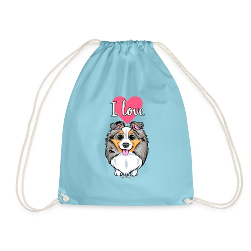 Sheltie Dog Love 3 - Drawstring Bag