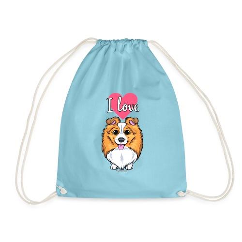 Sheltie Dog Love 2 - Drawstring Bag