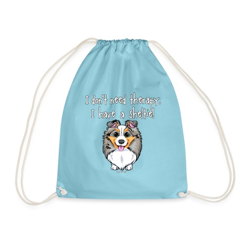 Sheltie Dog Therapy 3 - Drawstring Bag