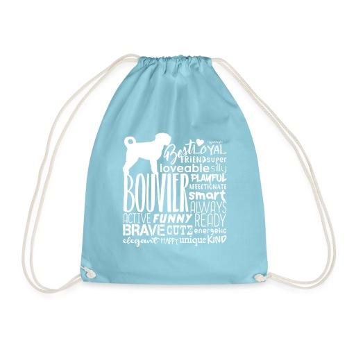 Bouvier Words White - Drawstring Bag