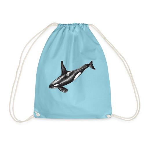 Orca ballena asesina Dibujo tinta blanco y negro - Mochila saco