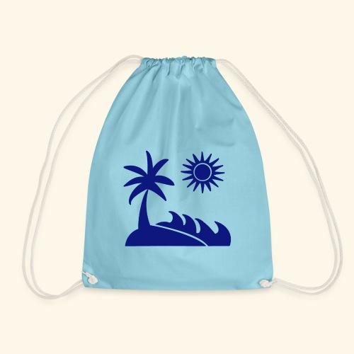 Palme, Meer, Sonne, Strand - Turnbeutel
