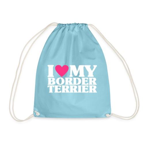 iheartmyborderterrier - Drawstring Bag