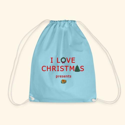 I love christmas presents - Drawstring Bag