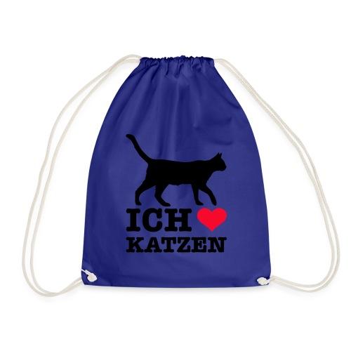 Ich liebe Katzen mit Katzen-Silhouette - Turnbeutel