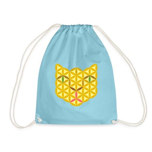 The Cat Of Life - Sacred Animals, B04, Yellow. - Drawstring Bag