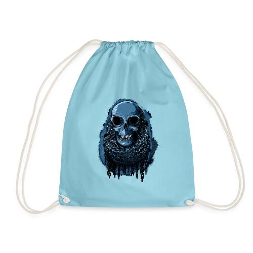 SKULL in CHAINS - deepBlue - Drawstring Bag