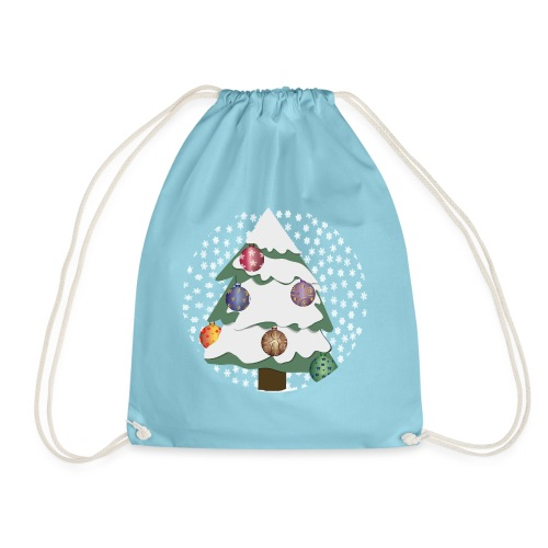 Christmas tree in snowstorm - Drawstring Bag