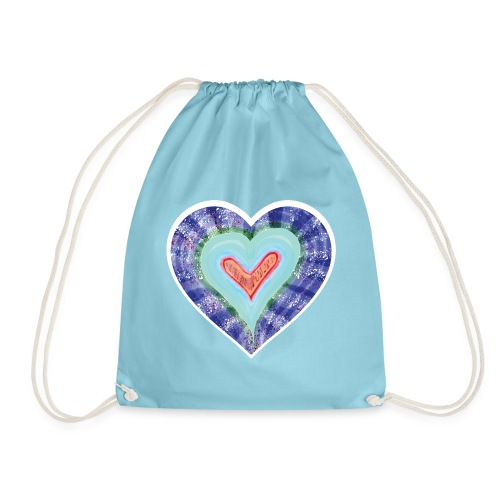 HeartSpread 18Little red heart in a green garden - Drawstring Bag