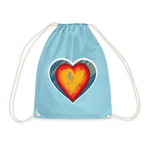 Warm lovely heart - Drawstring Bag