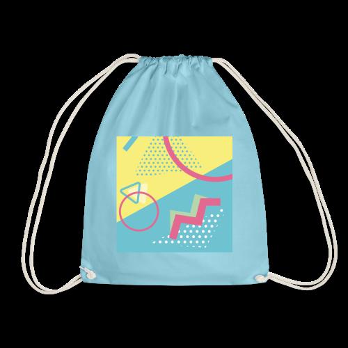 Pastel turquoise geometry - Drawstring Bag